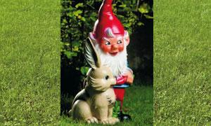 Figur Zwerg mit Hase 30 cm 162