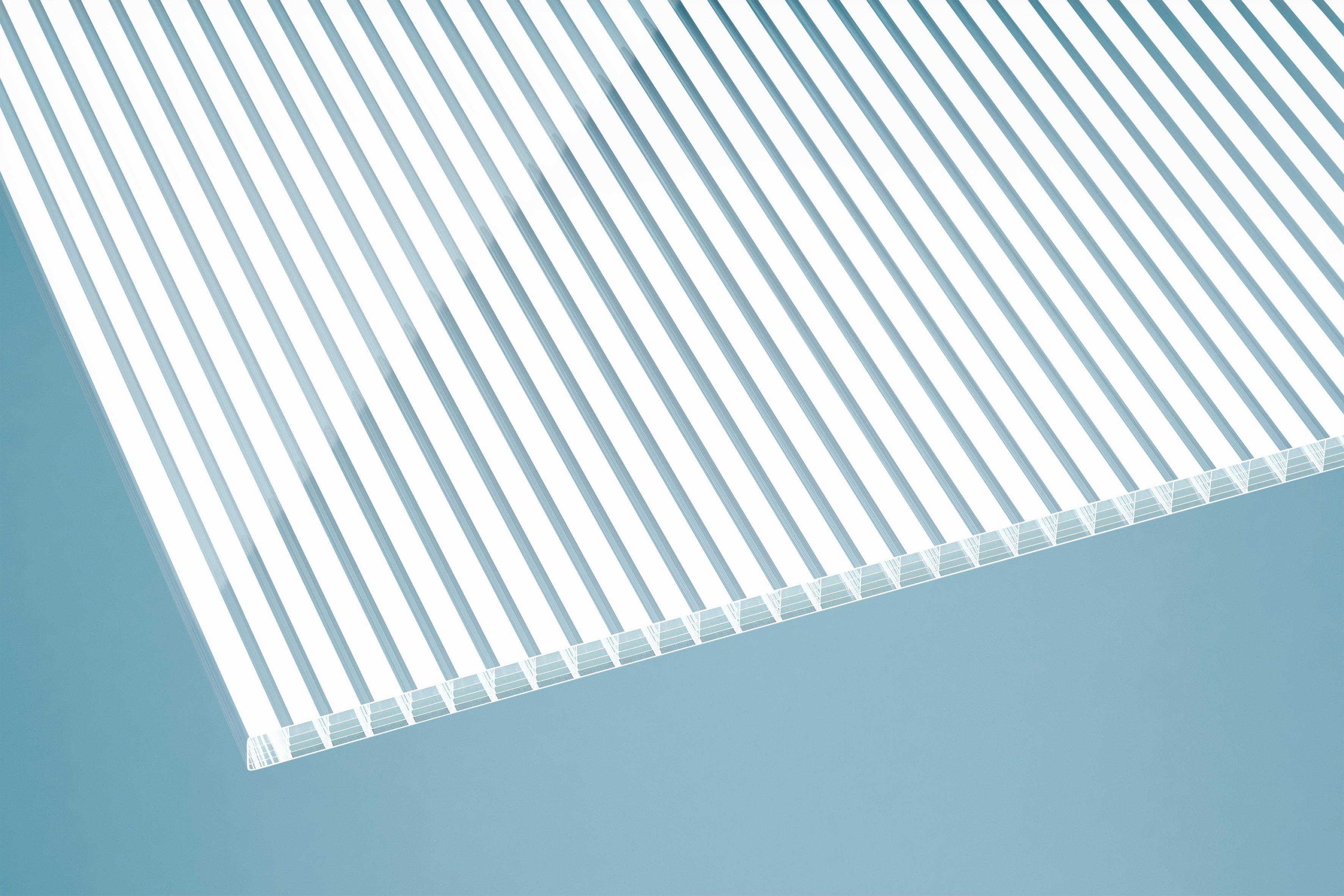 Gutta Polycarbonat Stegplatten 16 mm gestreift weiß
