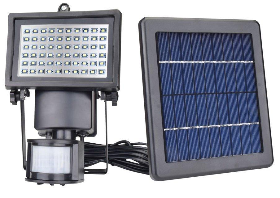 LED Solarlampe SL 60 mit Bewegungsmelder Alu schwarz