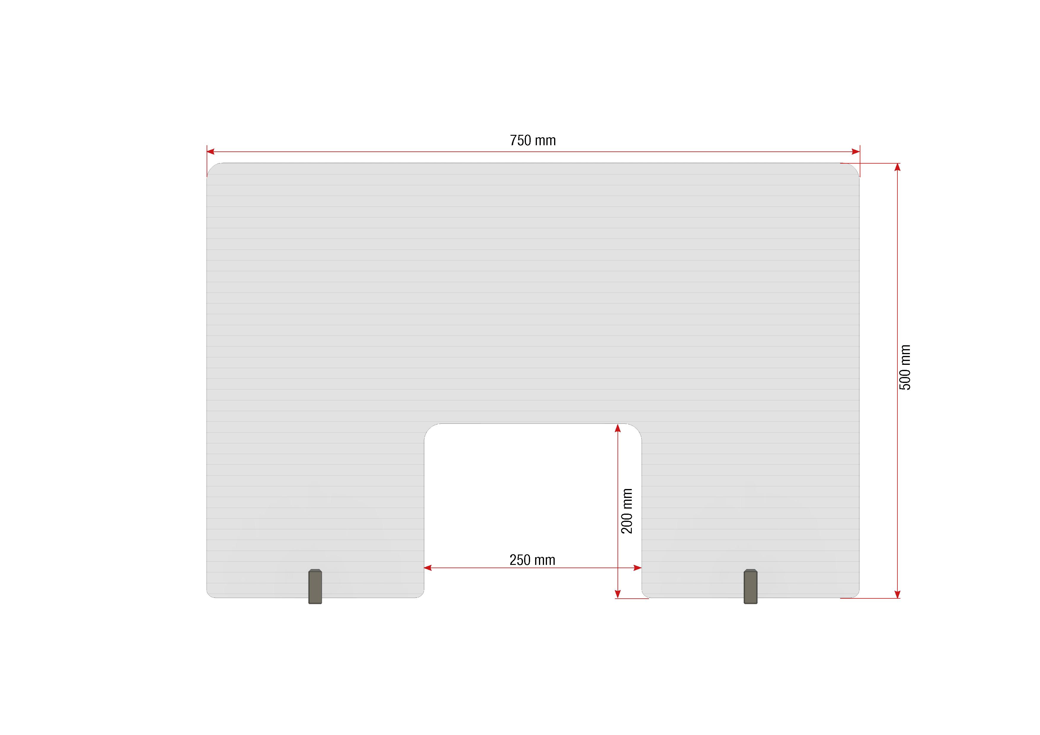 Gutta Spuckschutzwand mit Durchreiche 750 x 500 mm