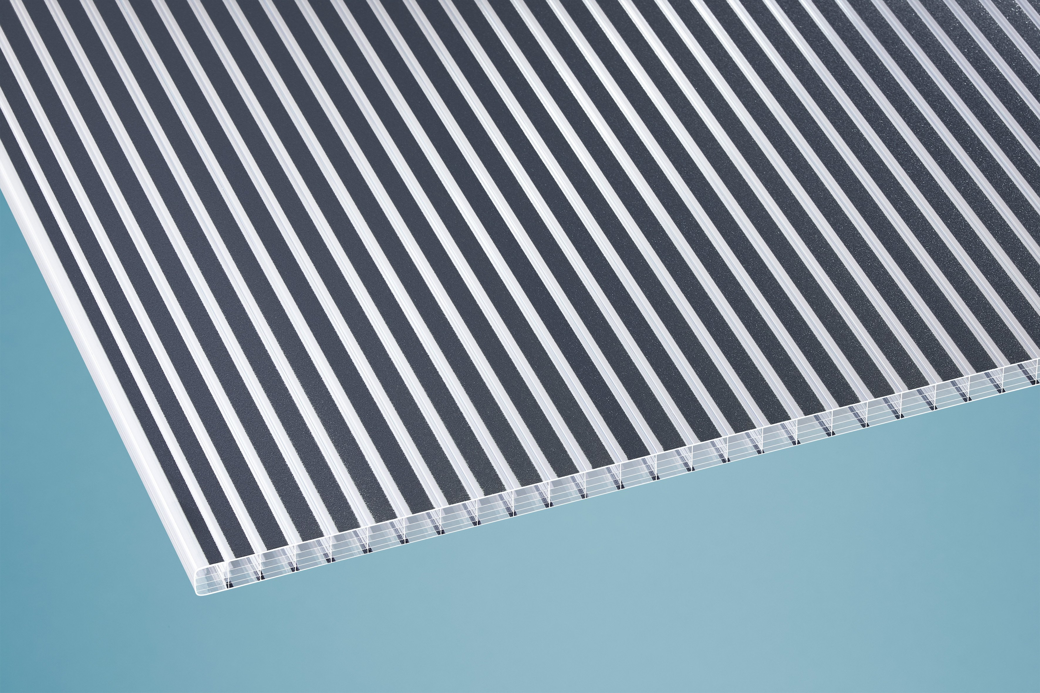 Gutta Polycarbonat Stegplatten 16 mm gestreift anthrazit