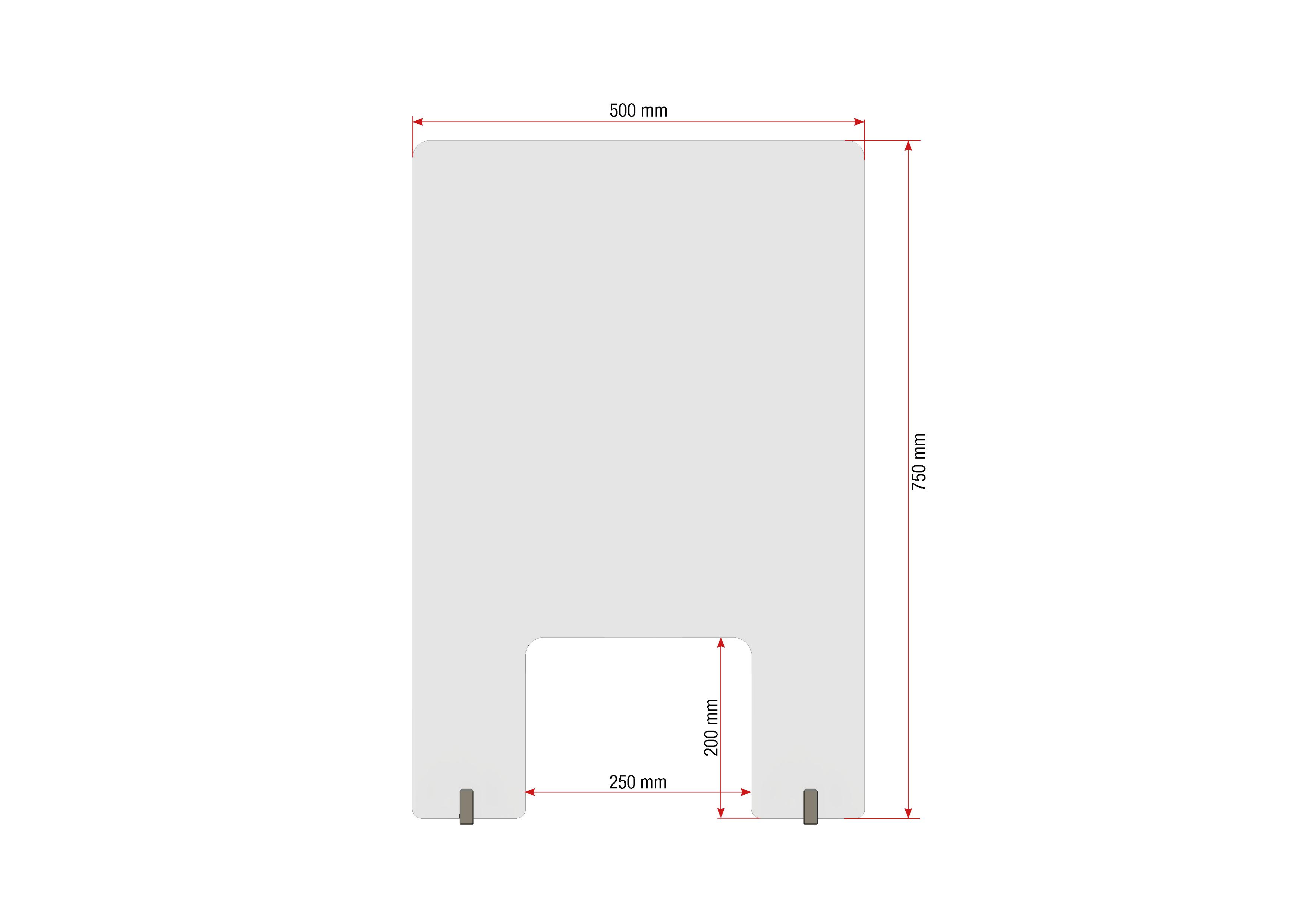 Gutta Spuckschutzwand mit Durchreiche 500 x 750 mm